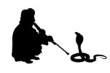 indian fakir sitting with cobra silhouettes