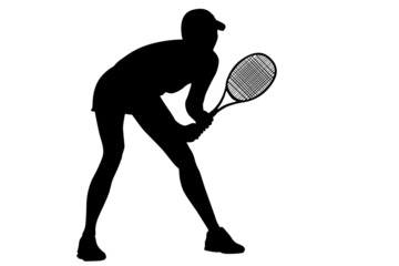 Tennis black woman's silhouette