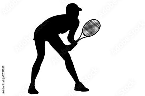 Tennis black woman's silhouette