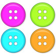 set of glossy pink green blue and orange buttons