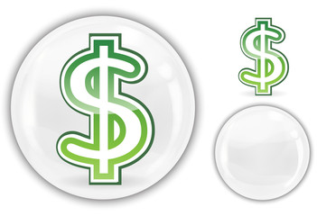 dollar sign in white crystal marble ball