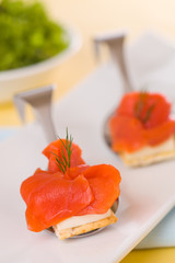 Delicacy smoked salmon  with cream cheese