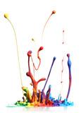 Fototapety Colorful paint splashing isolated on white