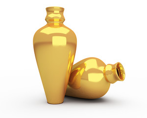 ancient gold vases isolated
