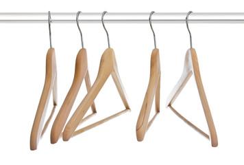Group of empty wooden hangers