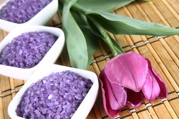 Lavender spa salt and a tulip flower