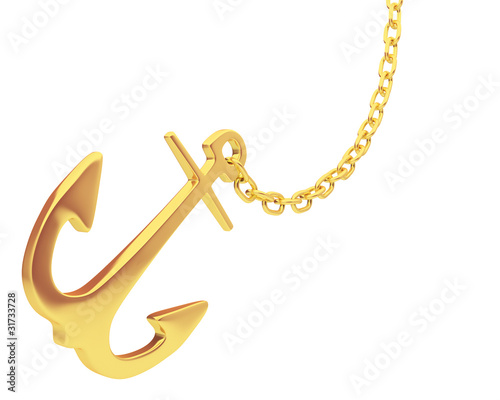 gold anchor and chain isolated