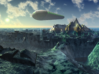 Space Shuttle over Alien City Ruins