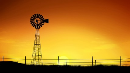 Windmill at sunset