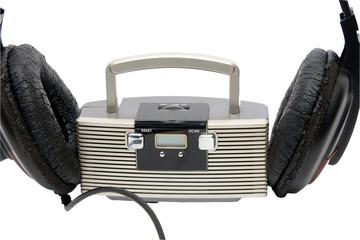 Little radio and big headphones