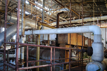 Boiler room pipes, tanks, and machinery