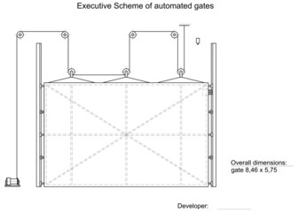 Executive scheme of automated gates. Vector illustration