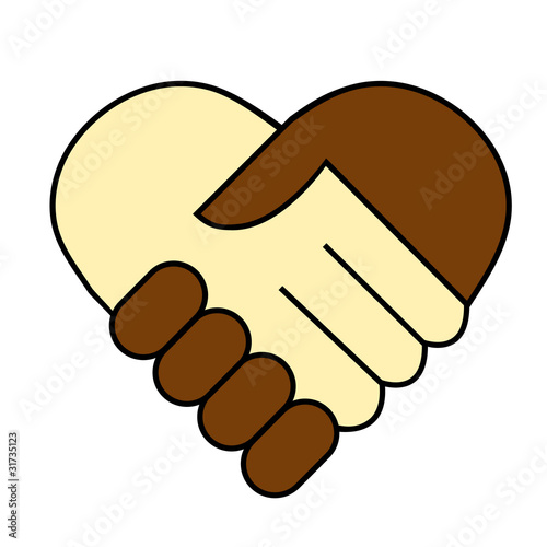 hand shake between black and white man