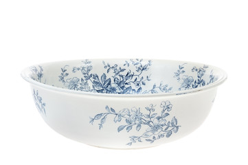 Antique hand painted washbowl isolated on white background