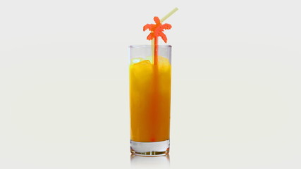 Orange juice rotates on its axis. Isolated. Matte included.
