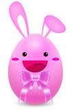 pink rabbit easter egg with pink ribbon isolated on white