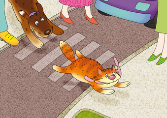 The red cat escapes from a dog with sausages through road
