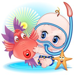 Bambino con Pesce Cartoon-Baby Boy with Funny FIsh-Vector