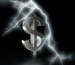 dollar symbol with flash