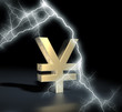 Yen symbol gold with flash