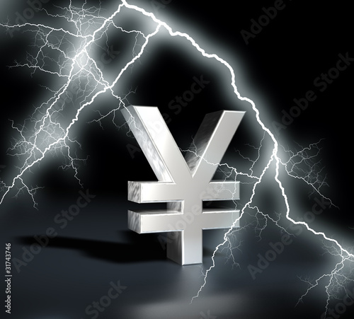 Yen symbol chrome with flash