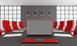 red and black meeting room
