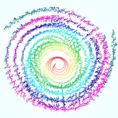 Spiral of multicolored abstract spikes patterns