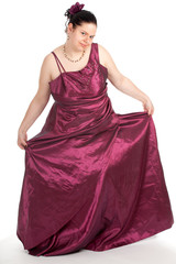 young, fat woman in beautiful old-fashioned ball dress