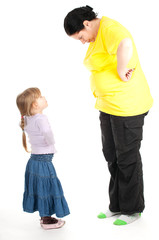 fat mother and preschool daughter having quarrel