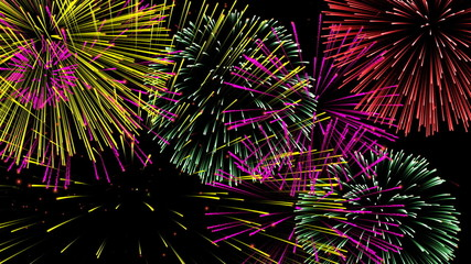 Abstract fireworks HD video, Alpha channel included