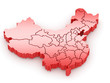 Three-dimensional map of China. 3d