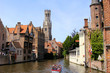 Famous view of the canals of Bruges and the Belfry