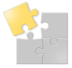 Puzzle grigio e oro con 4 pezzi