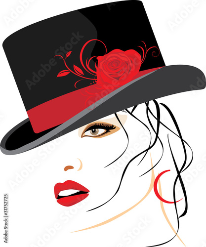 Portrait of beautiful woman in a elegant hat with red rose - 31752725