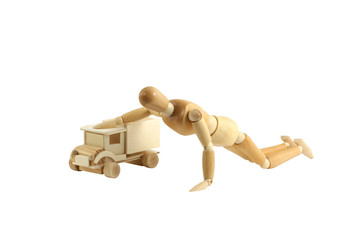 Wooden manikin with truck