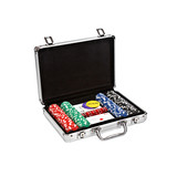 set for poker in suitcase on white background