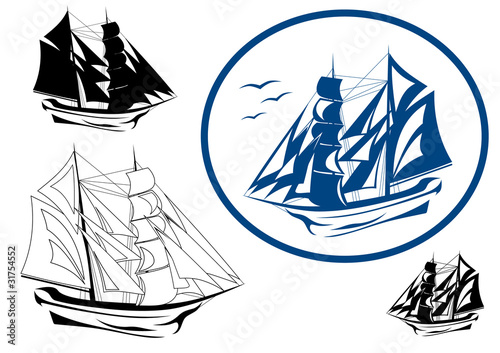 brigantine in full sail vector emblem