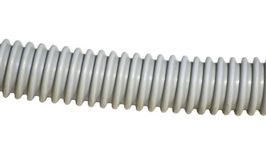 old gray plastic pipe isolated on white background