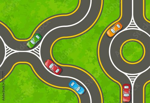 Foto op Plexiglas Op straat Seamless background with a highway