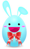 blue rabbit easter egg with red ribbon isolated on white