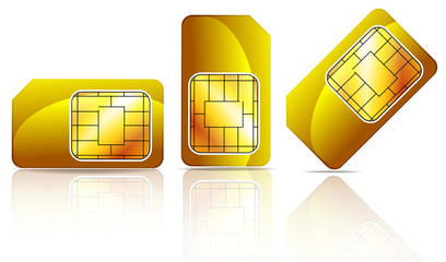 set of gold sim card isolated on white background