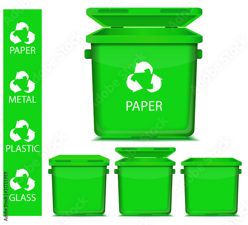 set of vector green recycle garbage