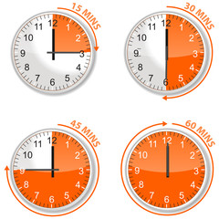 set of orange timer 15 30 45 and 60 minutes