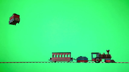 Toy Wood Trains on green screen