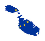 EU flag on map of Malta