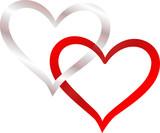 Fototapety zwei Herzen verschlungen silber und rot