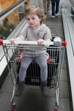 Baby on shopping undercarriage