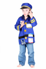 Young Preschool boy in Police costume