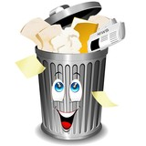 Riciclaggio Carta-Bidone Cartoon-Paper Recycle Bin-Vector
