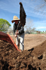 Retired Grandpa Working on the Farm